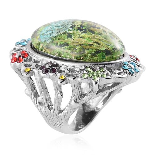 Natural Flower Preserved with Multi Colour Austrian Crystal Ring in Stainless Steel