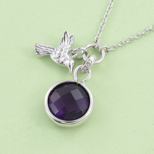 Amethyst (Rnd) Bird Necklace (with Chain) in Platinum Overlay Sterling Silver 4.000 Ct.