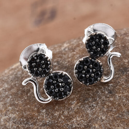 0.50 Carat Black Spinel Silver Cat Stud Earrings (with Push Back) in Platinum and Black Rhodium Overlay