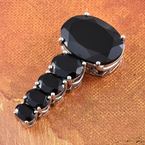 Boi Ploi Black Spinel (Ovl 32.65 Ct) 5 Stone Pendant in Platinum Overlay Sterling Silver 45.250 Ct. Silver wt. 7.10 Gms.