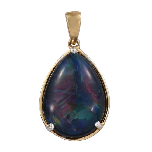 Rare Size AAA Australian Boulder Opal (Pear) Drop Pendant in 14K Gold Overlay Sterling Silver 7.000 Ct.