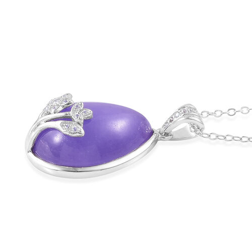 Purple Jade (Pear), White Zircon Pendant With Chain in Rhodium and Platinum Overlay Sterling Silver 12.340 Ct.