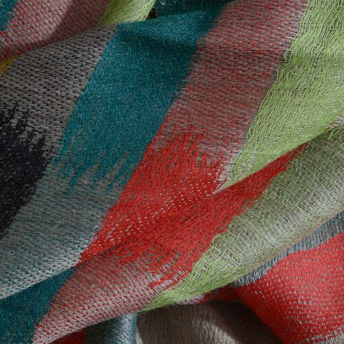 100% Cashmere Wool Dark Beige, Red and Multi Colour Grid Pattern Scarf (Size 200x70 Cm)