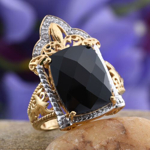 Stefy Boi Ploi Black Spinel (Cush 12.85 Ct), Natural Cambodian Zircon and Pink Sapphire Ring in 14K Gold Overlay Sterling Silver 13.000 Ct.