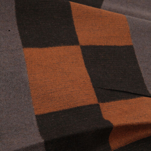 100% Acrylic Check Pattern Dark Brown and Tan Colour Scarf (Size 180x30 Cm)
