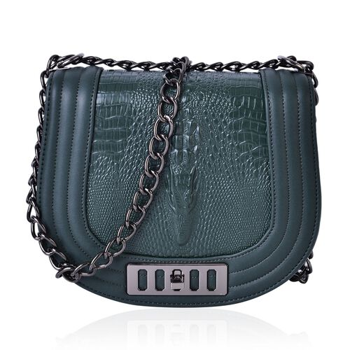 Croc Embossed Dark Green Colour Crossbody Bag with Chain Strap (Size 21.5x17x9 Cm)