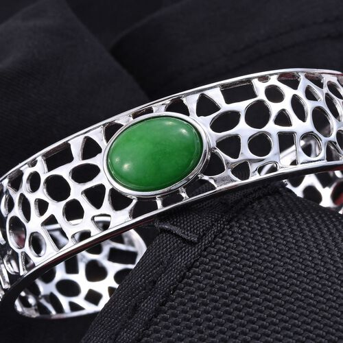 Green Jade (Ovl) Cuff Bangle (Size 7.5) in ION Plated Platinum Bond 10.750 Ct.