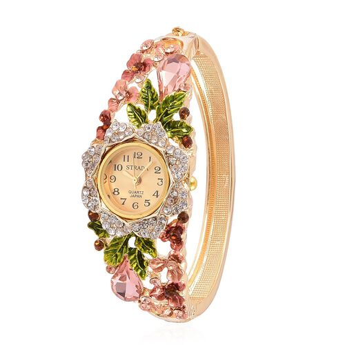 STRADA Japanese Movement Golden Sunshine Dial with Simulated Pink Sapphire and Multi Austrian Crystal Studded Floral Enameled Water Resistant Bangle Watch in Yellow Gold Tone with Stainless Steel