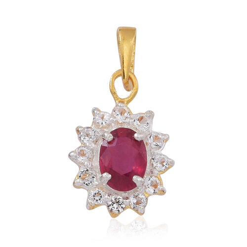 African Ruby (Ovl), White Topaz Ring, Pendant and Lever Back Earrings in 14K Gold Overlay Sterling Silver 5.000 Ct.