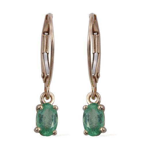 9K Y Gold Boyaca Colombian Emerald (Ovl) Lever Back Earrings 1.000 Ct.