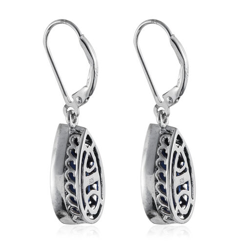 Ceylon Colour Quartz (Pear) Lever Back Earrings in Platinum Overlay Sterling Silver 10.000 Ct.