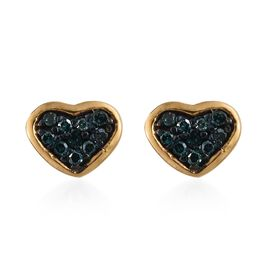 Blue Diamond Heart Stud Earrings (with Push Back) in 14K Gold Overlay Sterling Silver