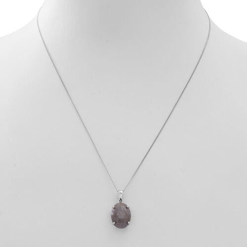 Rose Cut Natural Silver Sapphire (Ovl) Solitaire Pendant With Chain in Rhodium Plated Sterling Silver 9.000 Ct.