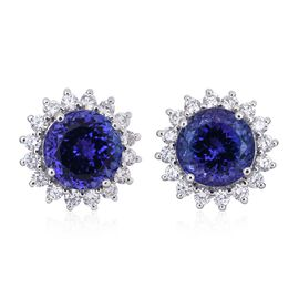 Signature Collection - ILIANA 18K W Gold AAA Tanzanite (Rnd), Diamond (SI/G-H) Stud Earrings (with Screw Back) 6.150 Ct.