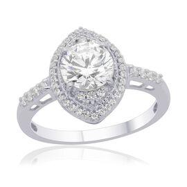 J Francis - Platinum Overlay Sterling Silver (Rnd) Ring Made with SWAROVSKI ZIRCONIA 2.482 Ct.