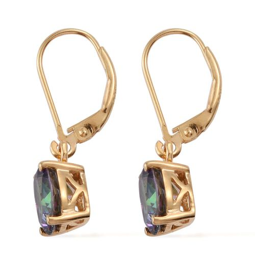 Northern Lights Mystic Topaz (Ovl) Lever Back Earrings in 14K Gold Overlay Sterling Silver 4.250 Ct.