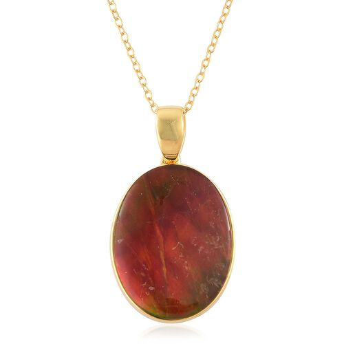 AAA Canadian Ammolite (Ovl) Solitaire Pendant With Chain in Yellow Gold Overlay Sterling Silver 8.000 Ct.