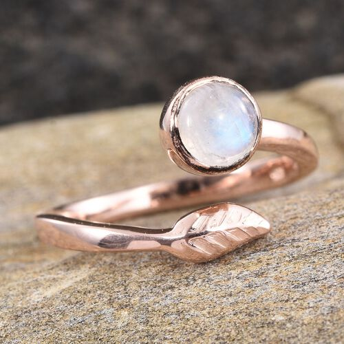 Natural Rainbow Moonstone (Rnd) Solitaire Ring in Rose Gold Overlay Sterling Silver 1.000 Ct.