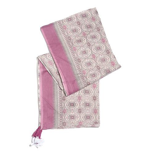 Designer Inspired - 100% Cotton Pink and White Colour Printed Scarf with Tassels (Size 210X180 Cm)