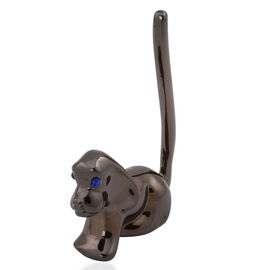 Home Decor - Blue Austrian Crystal Dog Ring Holder in Black Tone