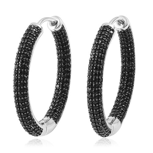 Boi Ploi Black Spinel Hoop Earrings (with Clasp) in Black Rhodium Plated Sterling Silver 7.500 Ct. Silver wt. 9.00 Gms.