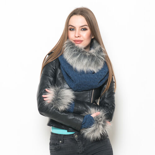 Blue Colour Knitted Snood and Hand Gloves with Fur