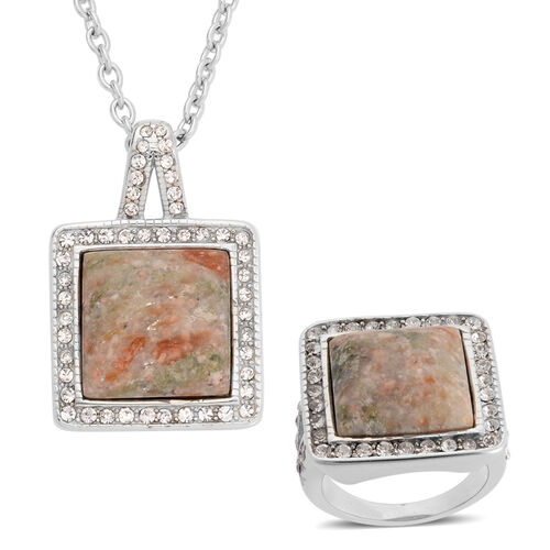Autumn Jasper and White Austrian Crystal Ring and Pendant With Chain in Stainless Steel