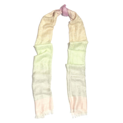 Pink, Cream and Multi Colour Floral Pattern Reversible Scarf with Fringes (Size 180X70 Cm)