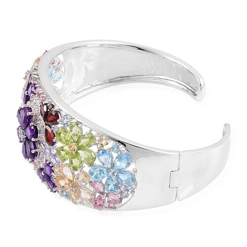 Amethyst, Mozambique Garnet, Swiss Blue Topaz, Hebei Peridot, Citrine, Tanzanite and Multi Gem Stones Floral Cuff Bangle (Size 7.5) 27.080 Ct. in Platinum Overlay Sterling Silver Wt 25.00 Gms