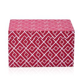 Red and White Colour Abstract Pattern Foldable Storage Box (Size 25x16x14.5 Cm)