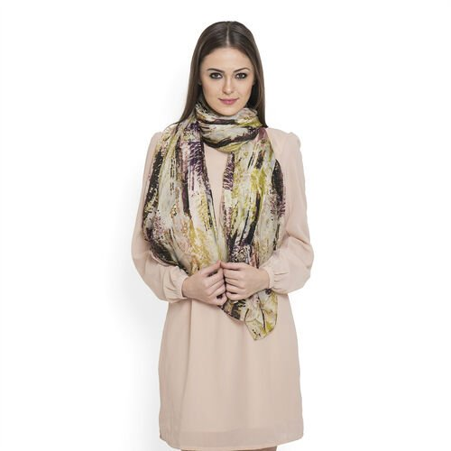 100% Mulberry Silk Multi Colour Abstract Pattern Cream Colour Scarf (Size 180x100 Cm)