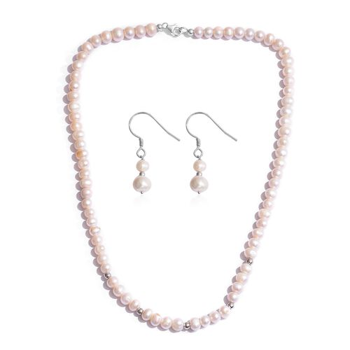 Fresh Water Pearl Necklace (Size 20) and Hook Earrings in Platinum Overlay Sterling Silver