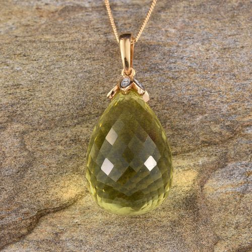 Brazilian Green Gold Quartz Pendant With Chain in 14K Gold Overlay Sterling Silver 29.000 Ct.