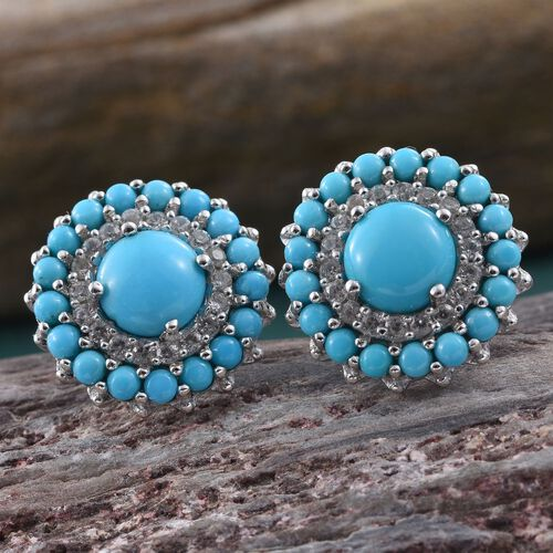 Arizona Sleeping Beauty Turquoise (Rnd), Natural Cambodian Zircon Stud Earrings (with Push Back) in Platinum Overlay Sterling Silver 4.500 Ct.