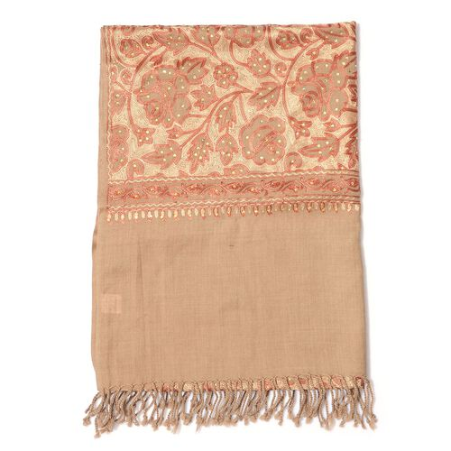 Limited Available 100% Merino Wool Floral Embroidered Beige Colour Shawl with Tassels (Size 200x70 Cm)