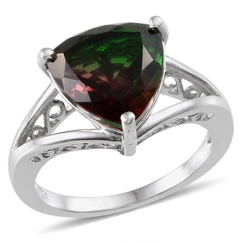 Tourmaline Colour Quartz (Trl) Solitaire Ring in Platinum Overlay Sterling Silver 5.250 Ct.