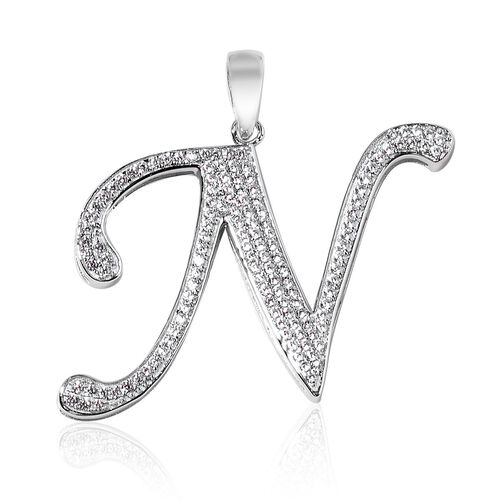 ELANZA AAA Simulated White Diamond N Initial Pendant in Platinum Overlay Sterling Silver