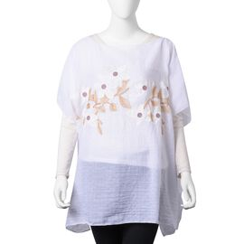 White, Golden and Pink Colour Embroidered Jasmine Flower Pattern Poncho (Size 90x70 Cm)