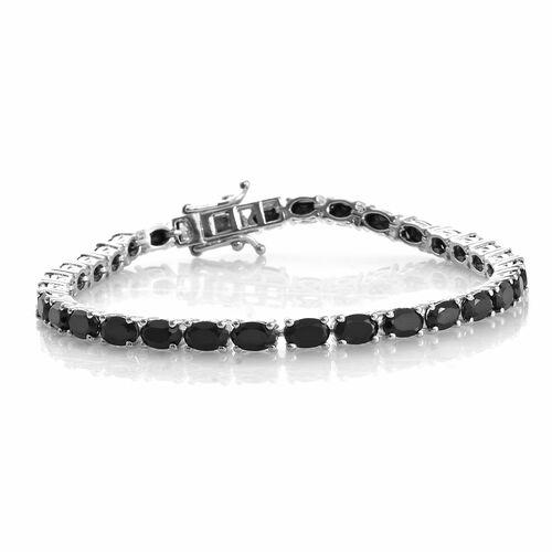 Boi Ploi Black Spinel (Ovl) Tennis Bracelet (Size 8) in Platinum Overlay Sterling Silver 19.750 Ct. Silver wt. 12.27 Gms.