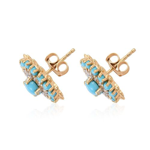 Arizona Sleeping Beauty Turquoise (Rnd), White Topaz Stud Earrings (with Push Back) in 14K Gold Overlay Sterling Silver 2.500 Ct.