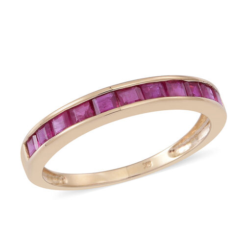 9K Y Gold Burmese Ruby (Sqr) Half Eternity Band Ring 1.250 Ct.