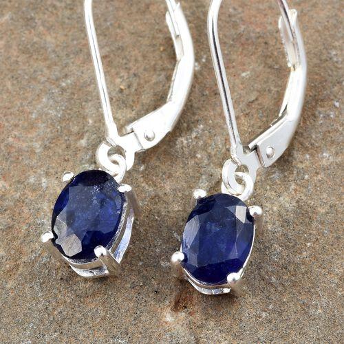One Time Deal-Masoala Sapphire (Ovl) Lever Back Earrings in Sterling Silver 2.250 Ct.