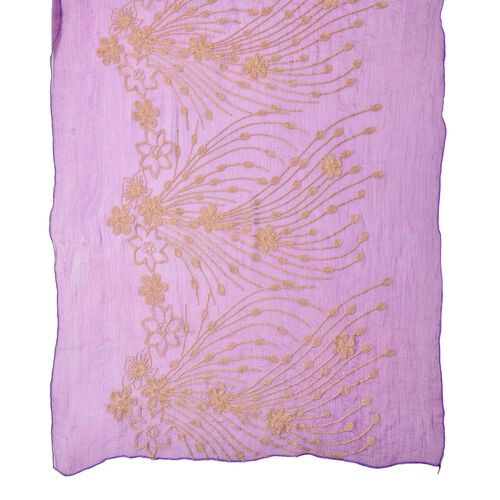 Golden Floral Embroidered Purple Colour Scarf (Size 175X70 Cm)