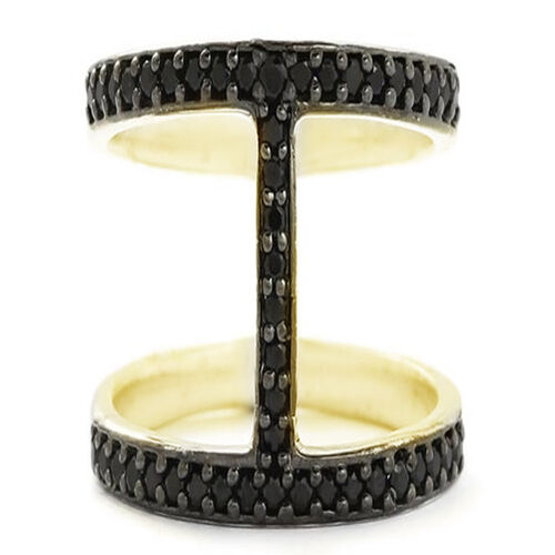 Boi Ploi Black Spinel (Rnd) Ring in 14K Gold Overlay Sterling Silver 1.000 Ct.