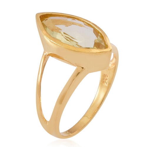 Natural Ouro Verde Quartz (Mrq) Solitaire Ring in 14K Gold Overlay Sterling Silver 3.500 Ct.