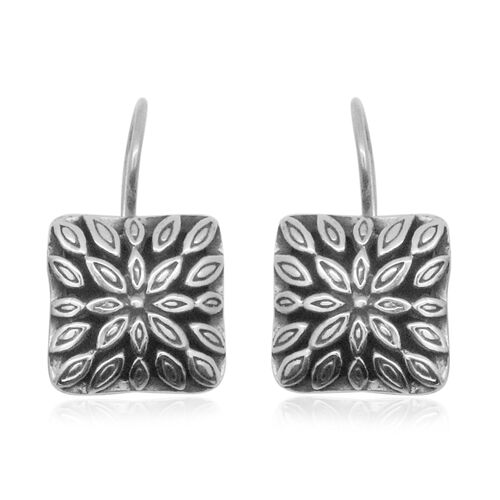 Royal Bali Collection Sterling Silver Floral Hook Earrings, Silver wt 7.20 Gms.