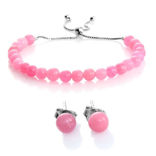 Super Auction- Rare Pink Jade Ball Beads Bolo Bracelet (Size 6.5 to 8.5) and Stud Earrings (with Push Back) in Rhodium Plated Sterling Silver 36.480 Ct.