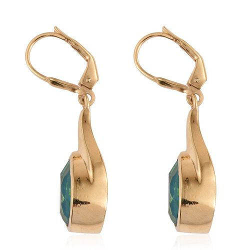 Peacock Quartz (Pear) Lever Back Earrings in 14K Gold Overlay Sterling Silver 7.250 Ct.