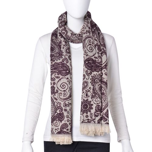 Designer Inspired-Purple and Beige Colour Paisley and Floral Pattern Scarf with Tassels (Size 180x67 Cm)