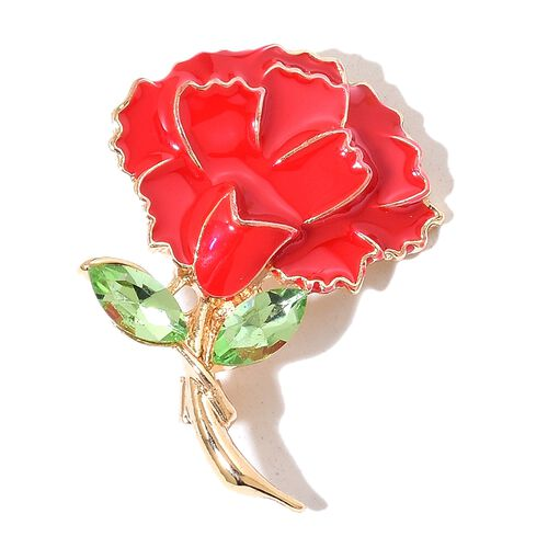 Simulated Peridot Red Colour Enameled Flower Brooch in Yellow Gold Tone